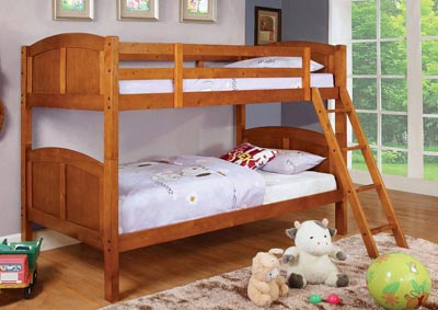Rexford Oak Twin/Twin Bunk Bed w/Trundle