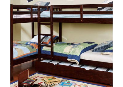 Marquette Dark Walnut L-Shaped Quadruple Twin Bunk Bed
