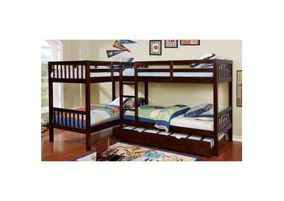 Marqutte Dark Walnut L-Shaped Quadruple Twin Bunk Bed