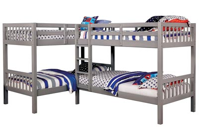 Marqutte Gray L-Shaped Quadruple Twin Bunk Bed