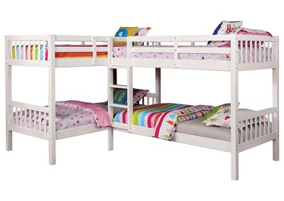 Image for Marqutte White L-Shaped Quadruple Twin Bunk Bed