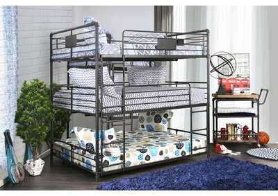 Olga I Sand Blac/Light Pure Copper Full/Full/Full Bunk Bed