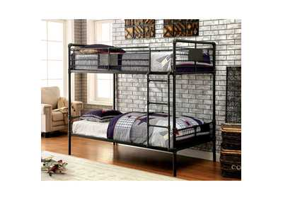Olga l Antique Black Metal Twin/Twin Bunk Bed w/Ladder
