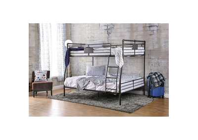 Olga I Antique Black Metal Full/Queen Bunk Bed