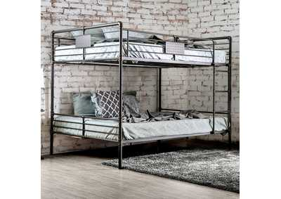 Olga I Antique Black Metal Queen/Queen Bunk Bed