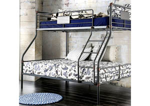 Olga I Antique Black Metal Twin/Full Bunk Bed