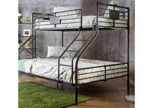 Olga I Antique Black Metal Twin/Queen Bunk Bed