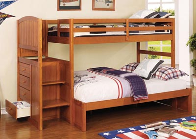 Spring Creek Dark Walnut/Oak/White Twin/Full Bunk Bed