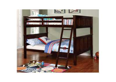 Gracie Dark Walnut Full/Full Bunk Bed w/Ladder