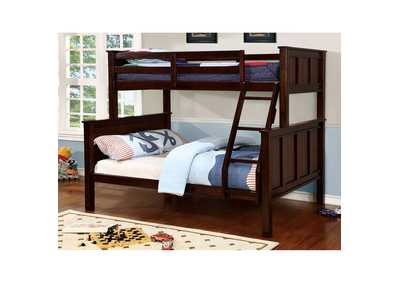Gracie Dark Walnut Twin/Full Bunk Bed w/Ladder