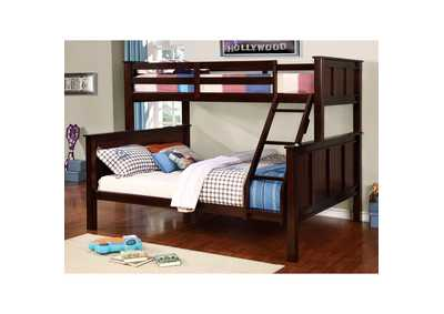 Gracie Dark Walnut Twin/Queen Bunk Bed w/Ladder