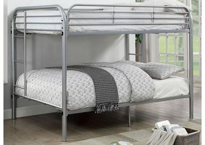 Opal Silver Full/Full Metal Bunk Bed