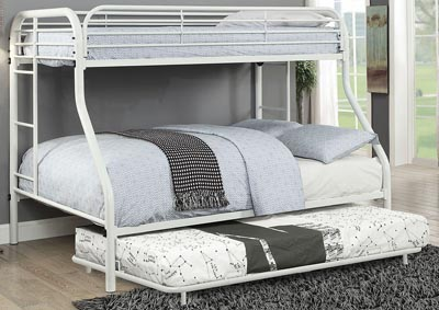Opal White Twin/Full Metal Bunk Bed