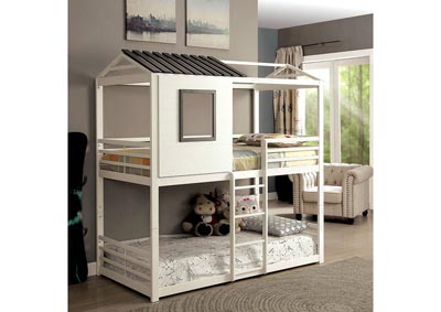 Stockholm White Gun Metal Twin/Twin Bunk Bed,Furniture of America