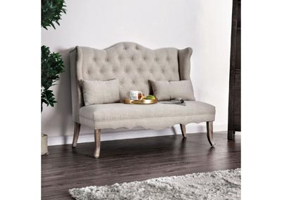 Donnelly Ivory Linen Love Seat w/Pillows