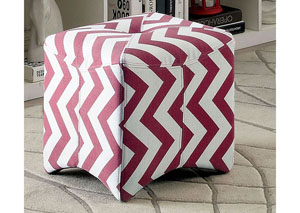 Image for Zahra ll Red Chevron Pattern Ottoman