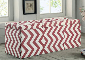 Zahra l Red Chevron Pattern Storage Ottoman
