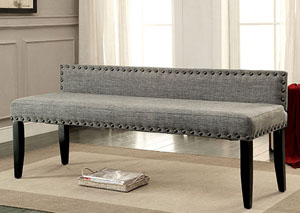 Herstal Gray Upholstered Large Bench