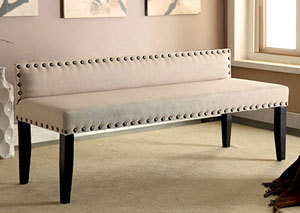 Herstal Ivory Upholstered Large Bench