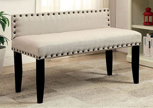 Herstal Ivory Upholstered Small Bench