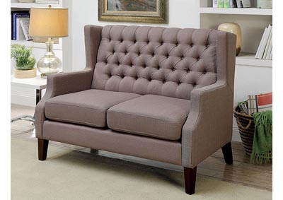 Sybil Brown Upholstered Love Seat Bench