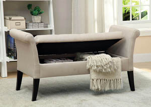 Doheny Ivory Fabric Storage Bench
