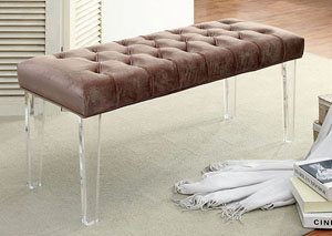 Image for Mahony Brown Bench w/Acrylic Legs