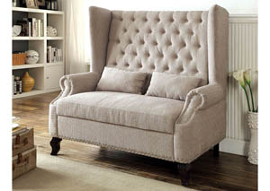Alcacer Beige Wingback Loveseat w/Button Tufting & 2 Pillows