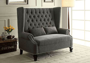 Alcacer Gray Wingback Loveseat w/Button Tufting & 2 Pillows