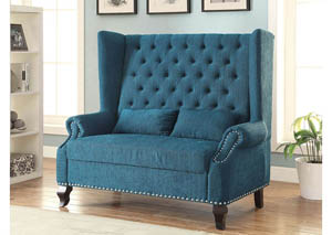 Alcacer Teal Wingback Loveseat w/Button Tufting & 2 Pillows