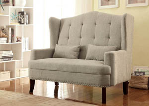 Setubal Beige Romantic Mid-Century Loveseat w/Nailhead Trim & ButtonTufting