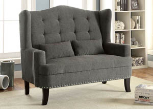 Setubal Gray Romantic Mid-Century Loveseat w/Nailhead Trim & Button Tufting