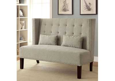 Amora Beige Wingback Loveseat w/Nailhead Trim & 2 Pillows