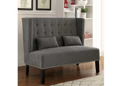 Amora Gray Wingback Loveseat w/Nailhead Trim & 2 Pillows