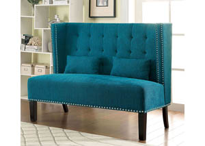 Image for Amora Teal Wingback Loveseat w/Nailhead Trim & 2 Pillows