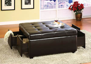Image for Petula Espresso Leatherette Storage Ottoman w/4 Drawers