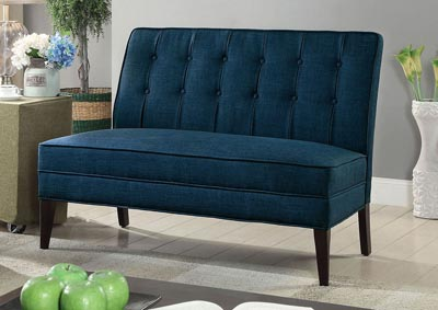 Deandra Dark Blue Upholstered Accent Bench
