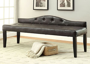 Calpas III Brown Large Leatherette Bench