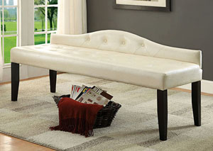Calpas III Pearl White Large Leatherette Bench