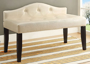 Calpas III Pearl White Small Leatherette Bench