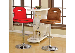 Colton Camel Leatherette Swivel Barstool w/Chrome Base