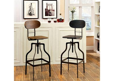 Leith Oak Swivel Barstool w/Wooden Block Seat & Metal Frame
