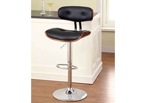 Boa Leatherette Curved-Back Swivel Barstool w/Wood Trim