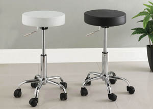 Ascon Black Leatherette Swivel Barstool w/Chrome Leg