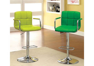 Image for Corfu Green Leatherette Swivel Barstool w/Armrest & Chrome Leg
