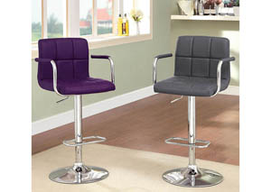 Image for Corfu Purple Leatherette Swivel Barstool w/Armrest & Chrome Leg