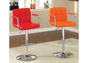 Image for Corfu Red Leatherette Swivel Barstool w/Armrest & Chrome Leg