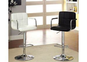 Image for Corfu Black Leatherette Swivel Barstool w/Armrest & Chrome Leg