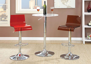Trixy Red Low Back Bar Chair (Set of 2)