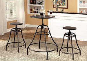 Forte Dark Brown 3 Piece Bar Table Set